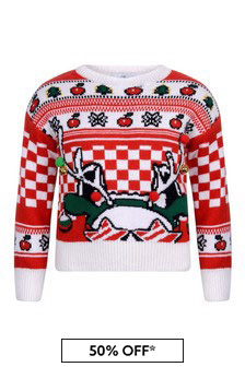 Marc Jacobs Girls Red And Ivory Knitted Reindeer Sweater
