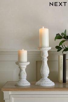 White Wash Turned Wood Candlesticks
