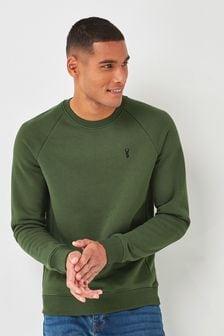 Khaki Green With Stag Crew Sweatshirt