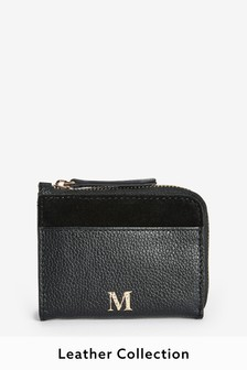 Black Leather Monogram Coin Purse