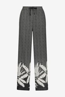 Monochrome Linen Blend Wide Leg Trousers
