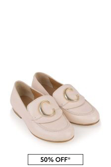 Chloe Kids Girls Pale Pink Leather Loafers