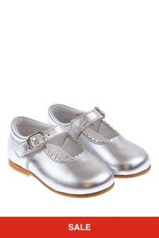 Andanines Girls Metallic Silver Scalloped Edge Mary Jane Shoes