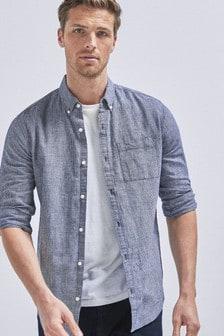 Dark Blue Linen Blend Roll Sleeve Shirt