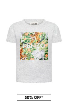 Kenzo Kids Boys Grey Cotton T-Shirt