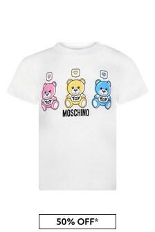 Moschino Kids Baby White Cotton T-Shirt