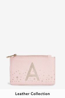 Pink Initial Leather Effect Coin Purse