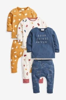 Multi 6 Pack Slogan T-Shirt And Leggings Set (0mths-2yrs)