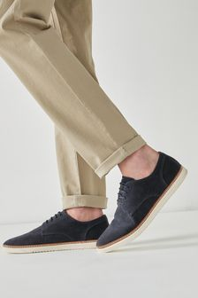 Navy Blue Cupsole Derby Shoes