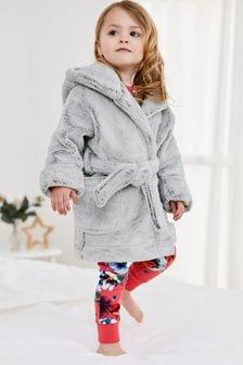 Grey Soft Touch Fleece Dressing Gown (9mths-16yrs)