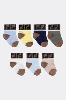 Fendi Kids Baby Boys Multi-Coloured Cotton Socks Seven Pack