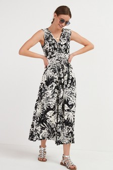 Monochrome Floral Pleated Sleeveless Midi Dress