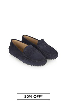 Tods Kids Navy Leather Loafers