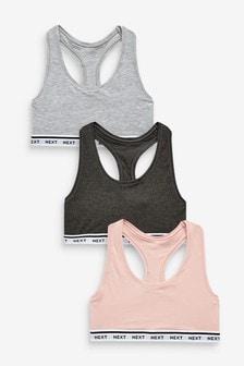 Pink/Light Grey Marl/Charcoal Crop Tops 3 Pack