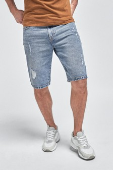 Blue Ripped Denim Shorts With Stretch