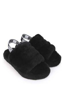 UGG Girls Black Fluff Yeah Sandals