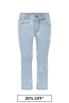 Burberry Kids Girls Blue Cotton Jeans
