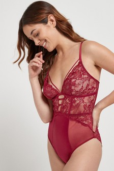 Red Lace And Satin Non Padded Wire Free Body