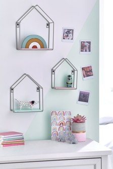 Pink/White/Teal 3 Pack House Shaped Wire Shelves