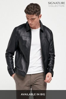 Black Signature Leather Collared Harrington Jacket