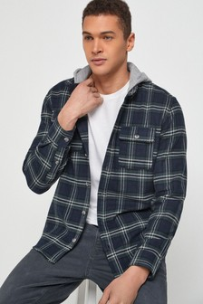 Blue Brushed Flannel Heavyweight Hooded Check Shacket