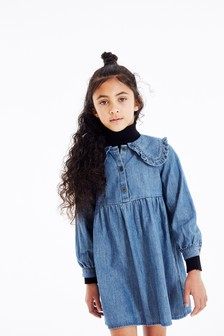 Denim Collar Detail Dress (3-16yrs)