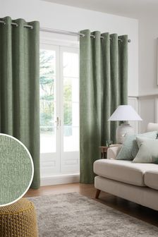 Sage Heavyweight Chenille Eyelet Lined Curtains