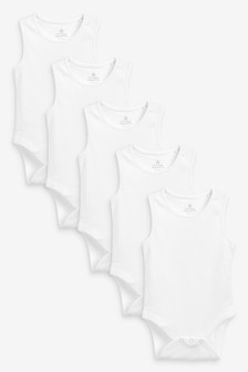 White 5 Pack Organic Cotton Vest Bodysuits (0mths-3yrs)
