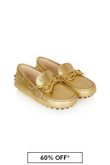 Tods Girls Gold Leather Loafers