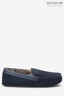 Navy Signature Embossed Moccasin Slippers
