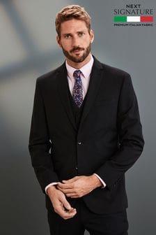 Black Signature Tollegno Fabric Suit: Jacket