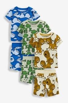 Ecru/Multi Animal 3 Pack Short Pyjamas (9mths-12yrs)