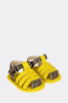 Fendi Kids Baby Yellow Leather Sandals