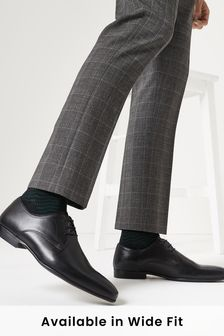 Black Leather Plain Derby Shoes