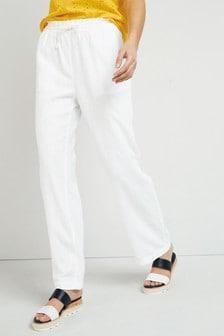 White Linen Blend Wide Leg Trousers
