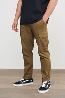 Tan Cotton Stretch Cargo Trousers
