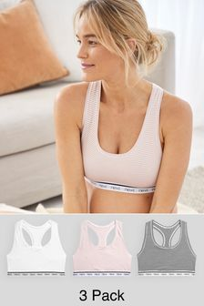 White/Blue/Pink Stripe Daisy Crop Tops Three Pack