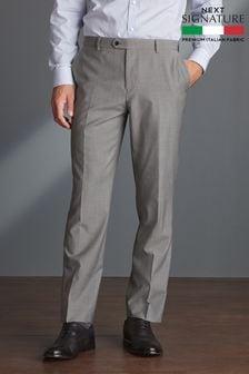 Light Grey Signature Tollegno Fabric Suit: Trousers