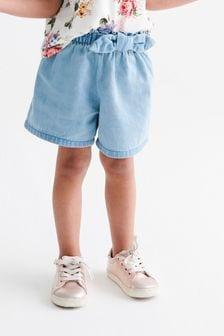 Light Denim Bow Detail Shorts (3mths-7yrs)