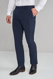 Navy Machine Washable Plain Front Trousers