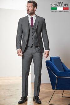 Grey Signature Tollegno Fabric Suit: Jacket