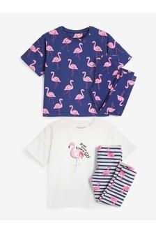 Navy/Pink 2 Pack Sequin Flamingo Legging Pyjamas (3-16yrs)