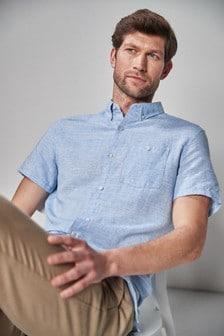 Blue Linen Blend Short Sleeve Shirt