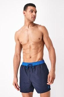 Navy Contrast Trim Swim Shorts