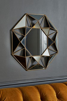 Gold Faceted Small Mirror