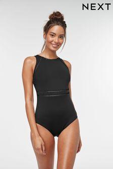 Black Sculpt And Shape Highneck Swimsuit