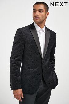 Black Printed Velvet Jacket
