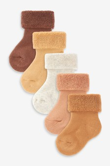 Brown 5 Pack Towelling Roll Top Socks (Newborn)