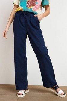 Navy Linen Blend Wide Leg Trousers