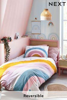 Natural Scandi Rainbow Reversible Duvet Cover and Pillowcase Set